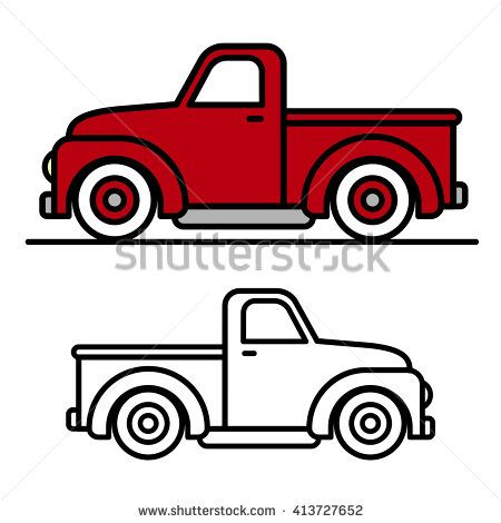 450x470 Two Cartoon Vintage Pick Up Truck Outline Drawings, One Red