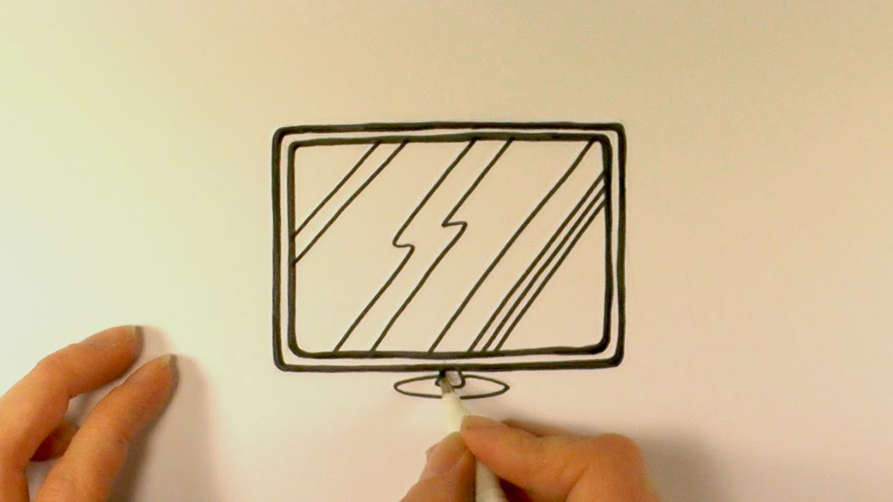 1280x720 How To Draw A Cartoon Flat Screen Television