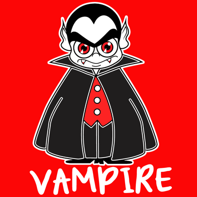 400x400 How To Draw A Cartoon Vampires For Halloween With Easy Step By