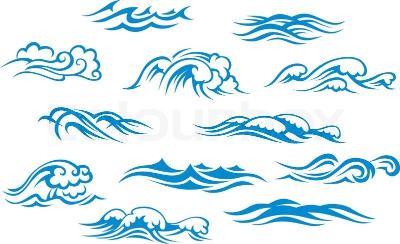 800x489 Ocean And Sea Waves Stock Vector Colourbox