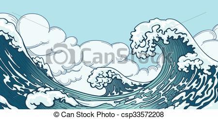 450x245 Ocean Big Wave In Japanese Style. Water Splash, Storm Space