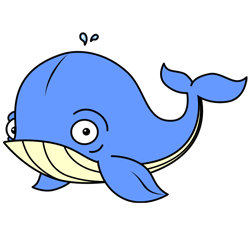 250x250 Cartoon Whale Step By Step Drawing Lesson