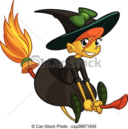 450x454 Halloween Cute Witch Cartoon. Halloween Cute Witch Flying