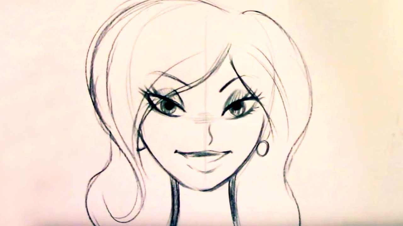 1280x720 How To Draw A Beautiful Cartoon Woman (Step By Step)