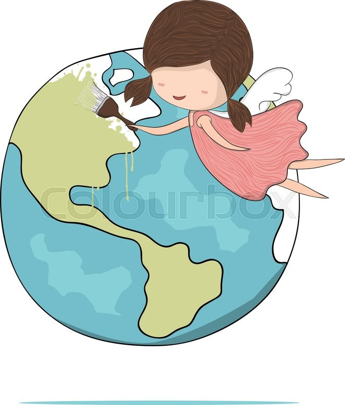 682x800 Cute Doodle Of A Girl Angel Painting A World, Drawing By Hand