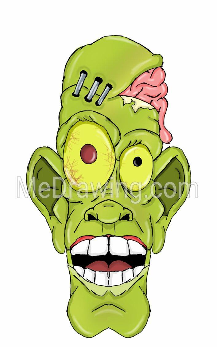 707x1131 Cartoon Zombie Head By Me Drawing
