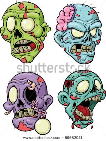 353x470 Cute Zombie Clip Art Four Cartoon Zombie Heads. All In Separate