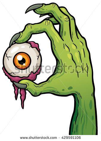 338x470 Vector Illustration Of Cartoon Zombie Hand Holding Eye Cartoon