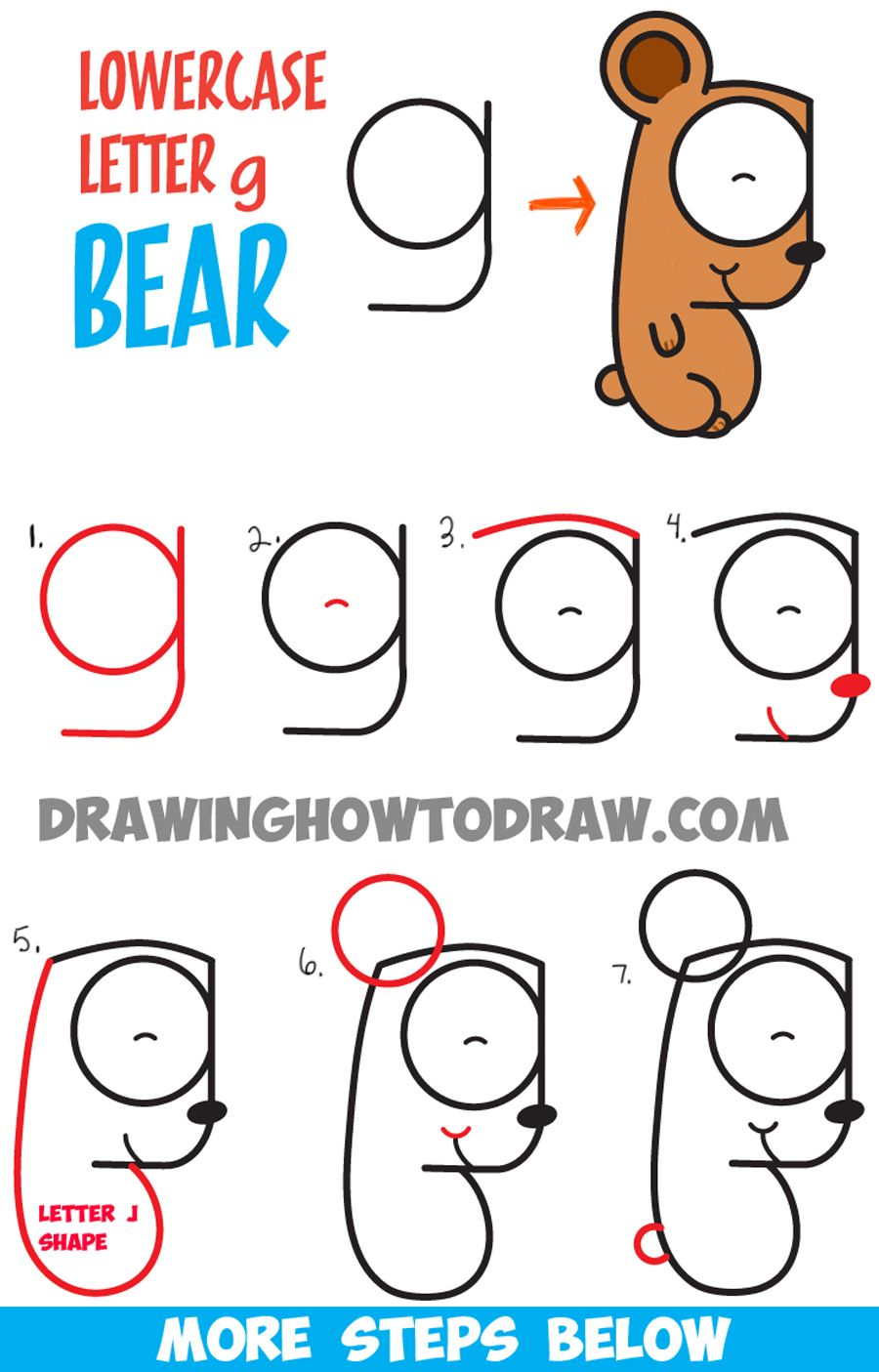 900x1405 How To Draw Cartoon Bear Cub From Lowercase Letter G