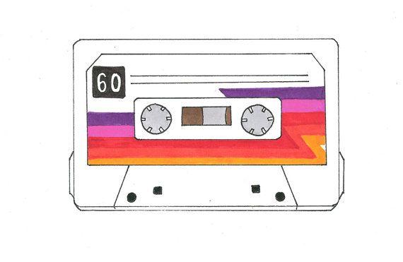 570x371 Art Print Hand Drawn Cassette Tape Mix Tape Retro 80s Drawing