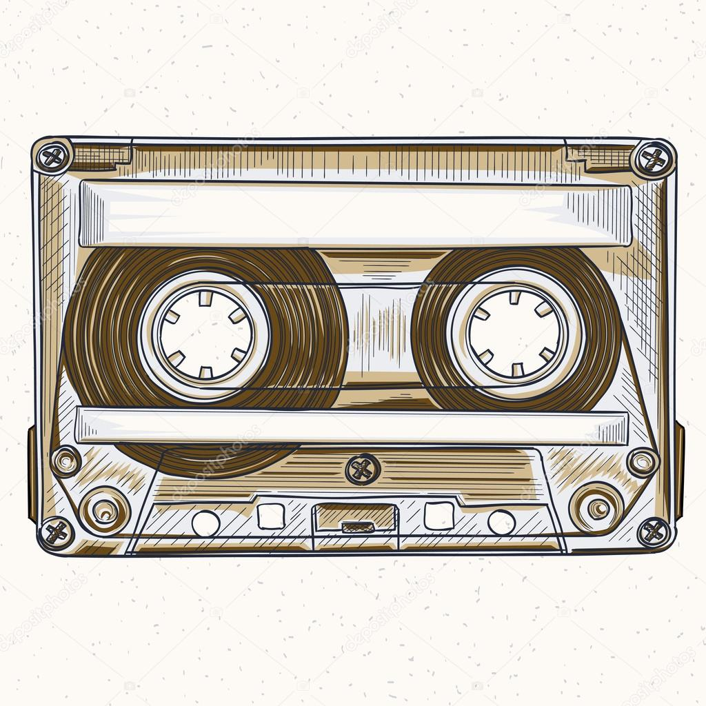 1024x1024 Hand Drawing Audio Cassette Stock Vector Alex Scholar