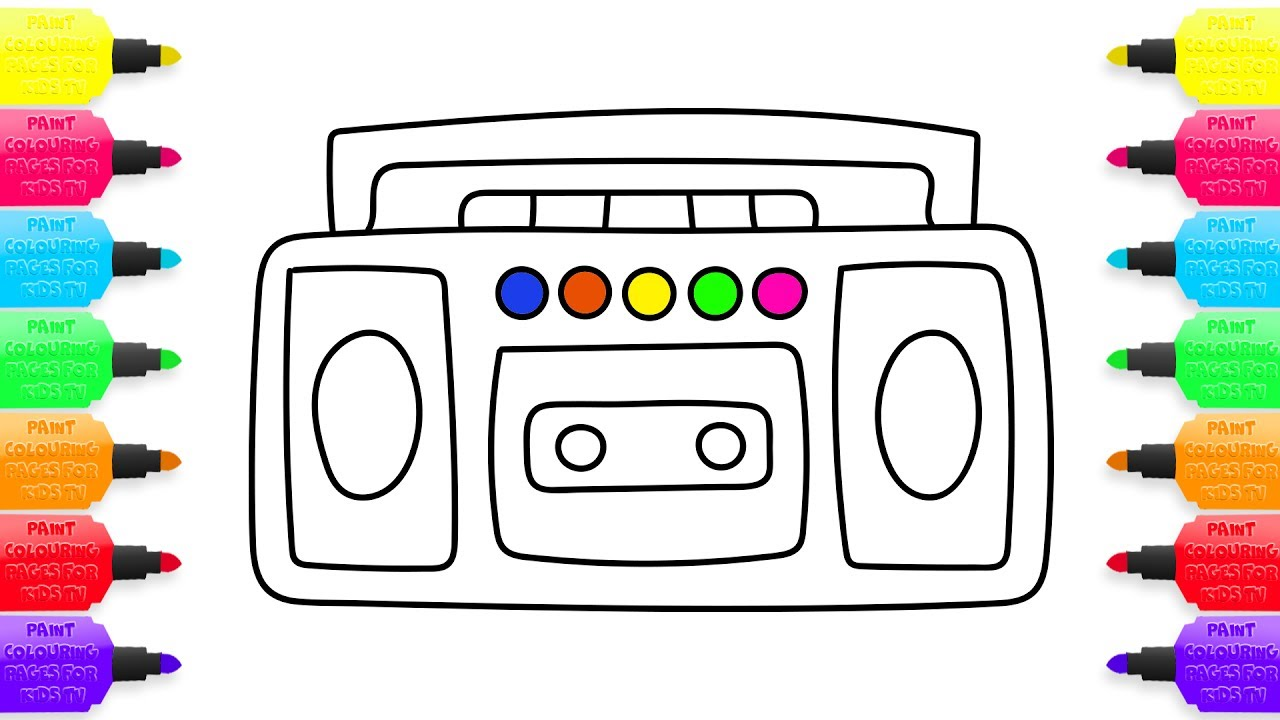 1280x720 How To Draw Cassette Tape Recorder, Coloring Pages Player