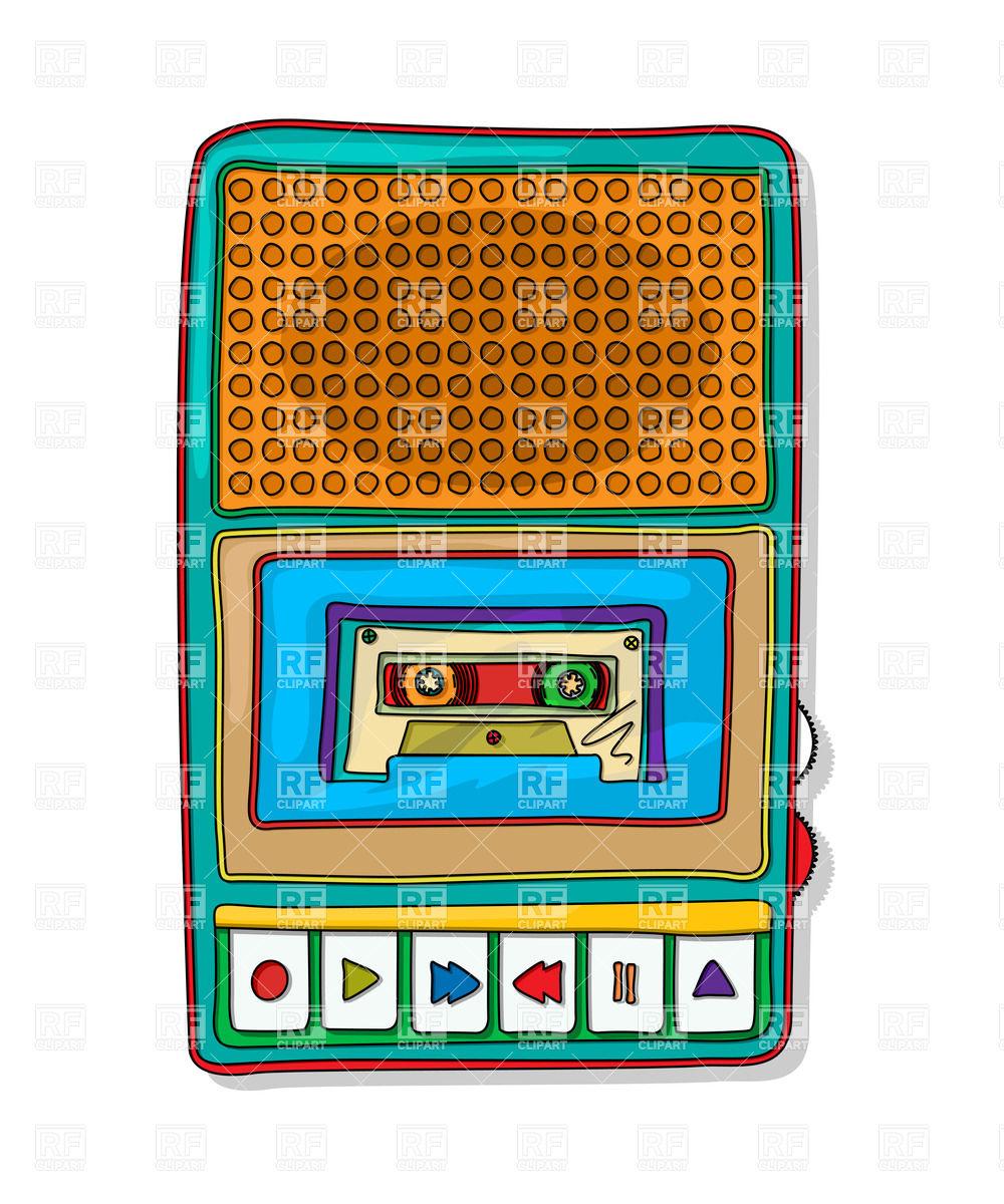1000x1200 Vintage Audio Tape Recorder Royalty Free Vector Clip Art Image