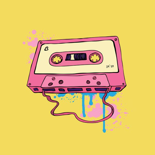 600x600 Audio Cassette. Oldschool Illustration. Retro Cassette Tape. Art