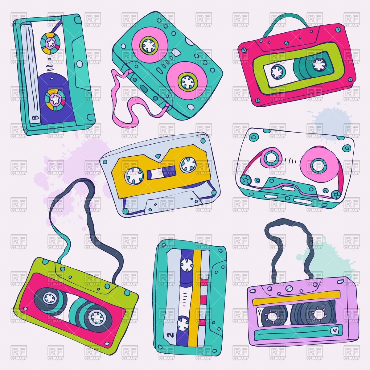 1200x1200 Colorful Retro Cassette Tapes Royalty Free Vector Clip Art Image