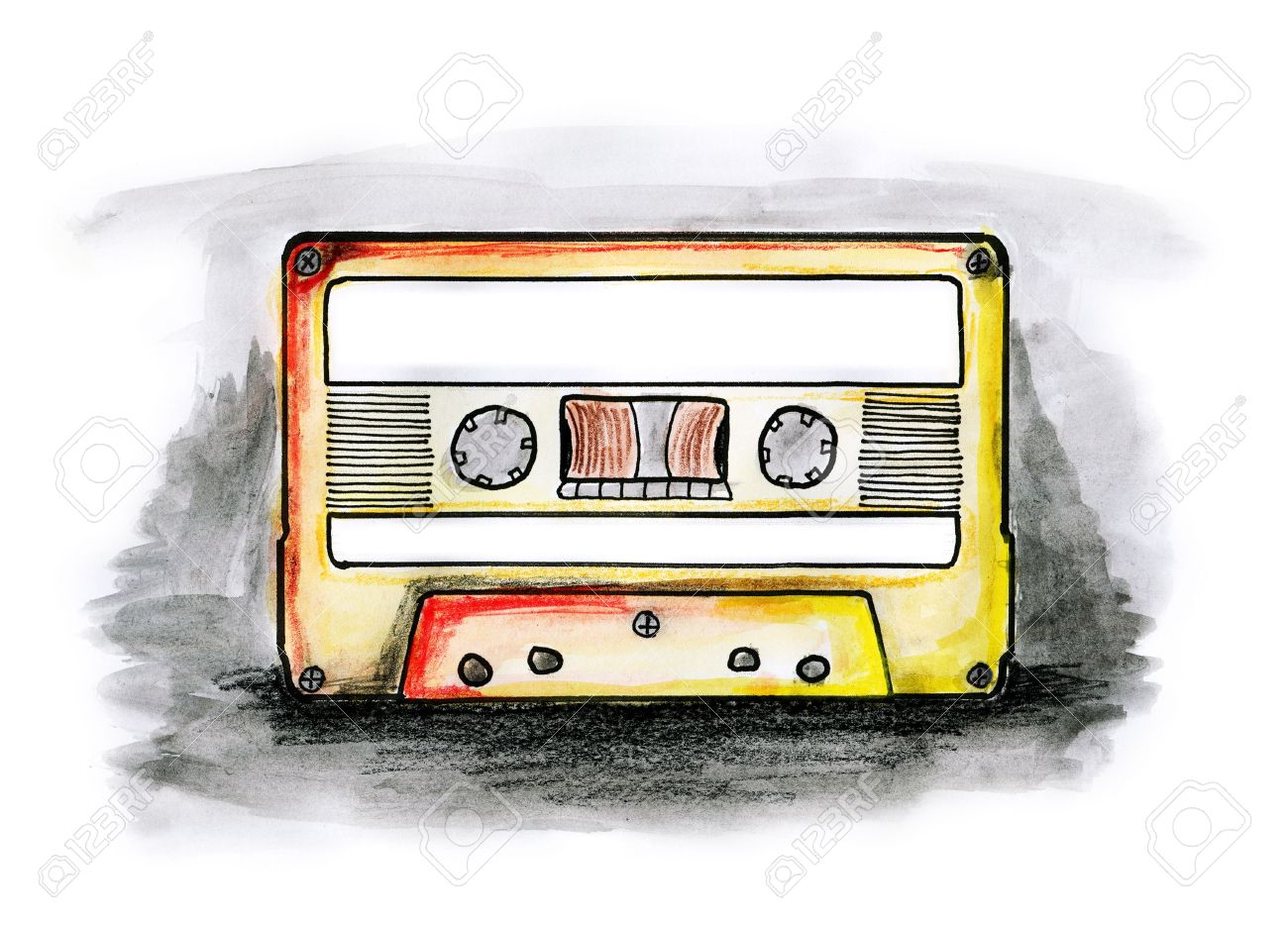 1300x935 Drawing Illustration Of A Cassette Tape With Blank Labels