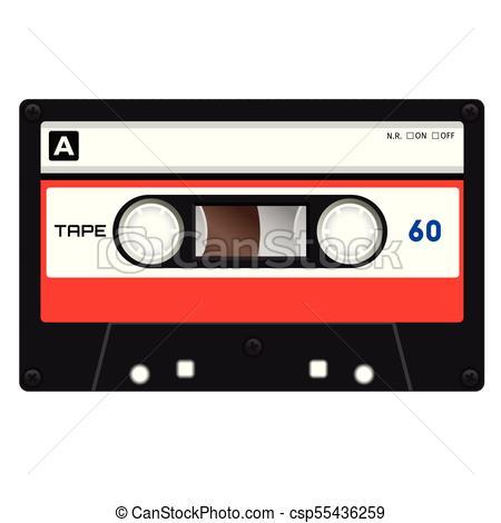 450x470 Plastic Audio Cassette Tape. Realistic Illustration . Clipart