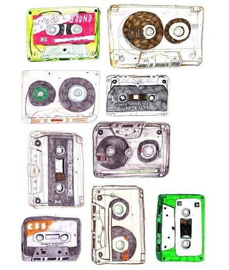 470x556 Art, Cassette Tapes, Drawing, Hannah Barton, Illustration, Mixtape