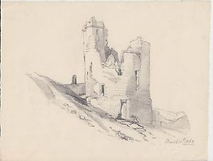 300x227 1862 Victorian Pencil Drawing Of Some Castle Ruins Ebay