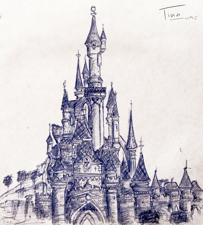 849x940 Disneyland Castle Drawing Drawn Castle Cinderella Castle