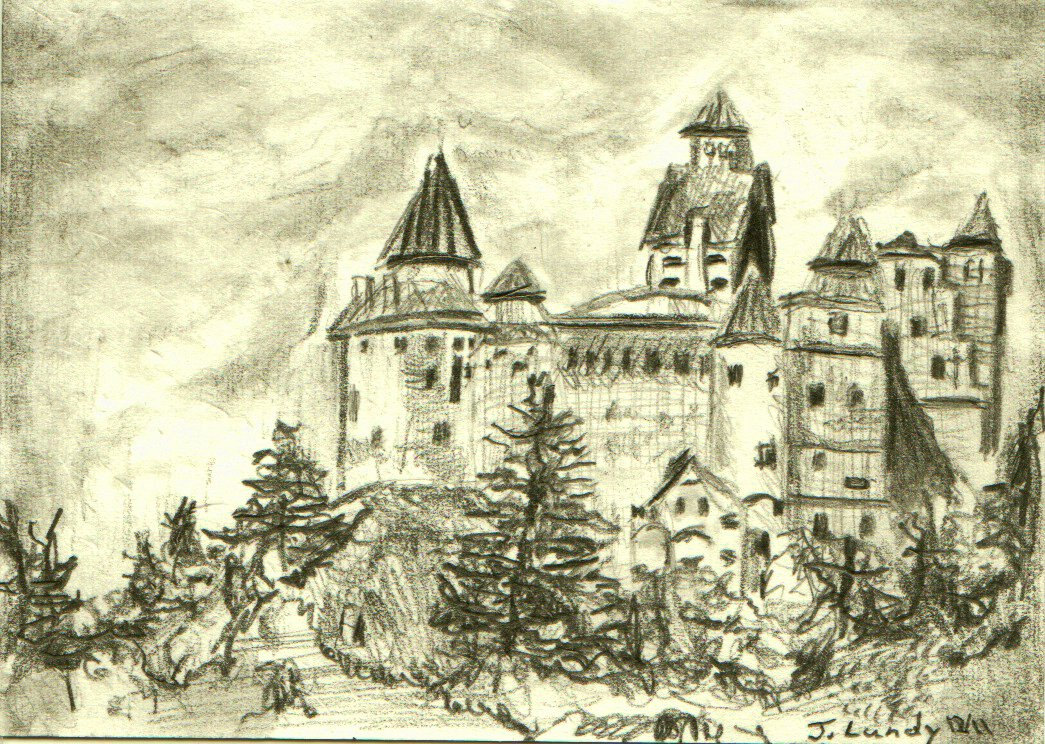 1045x744 Graphite Pencil Drawing Of Castle Bran Aceo By Activeartstudios