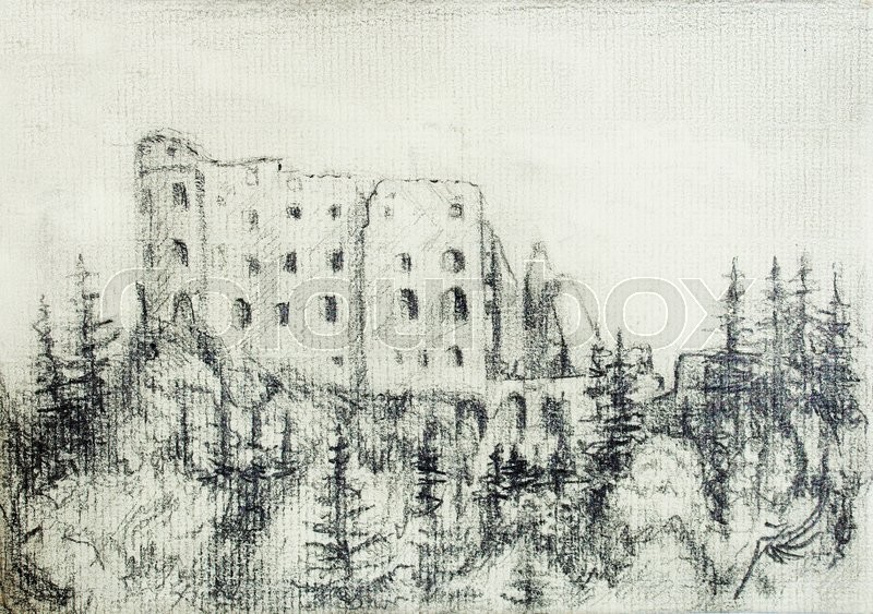 800x563 Middle Castle Pencil Drawing In Forest, On Old Paper Stock