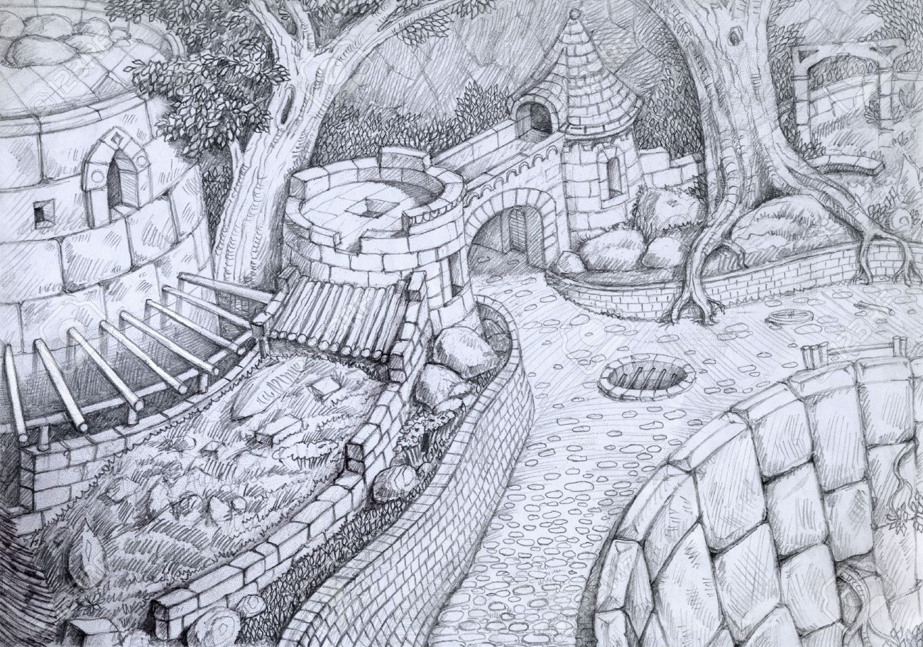 1300x911 Pencil Drawing Of An Ruin Of Old Castle Stock Photo, Picture