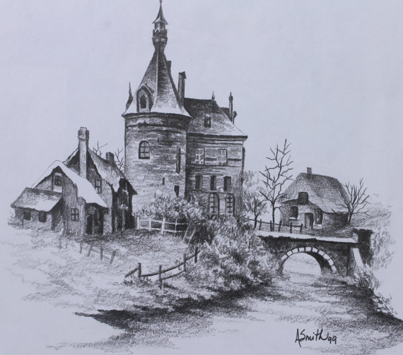 570x503 Pencil Drawing Print Of Scottish Castle By Artistrybyali On Etsy