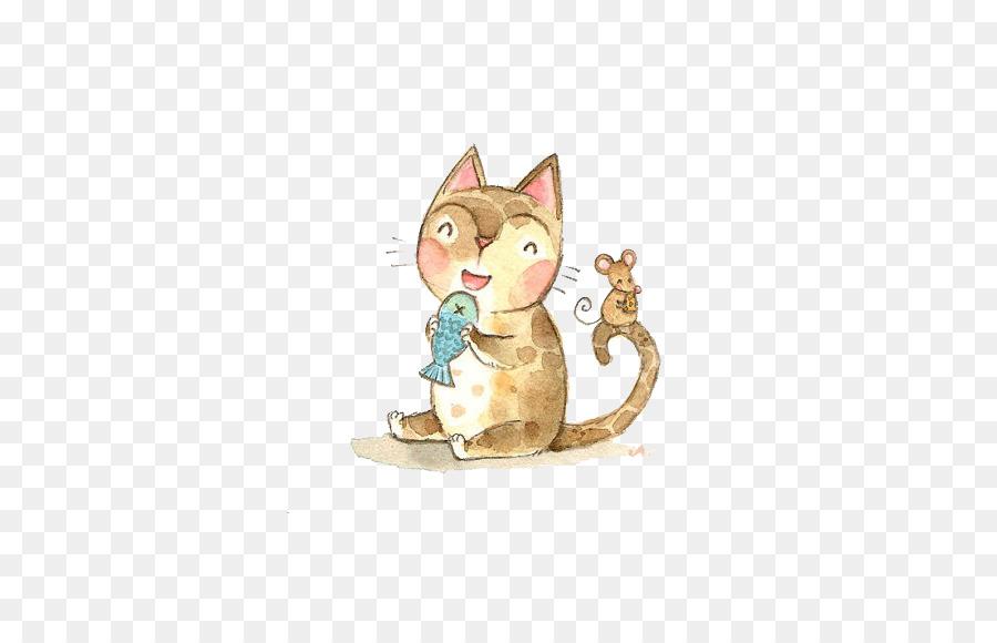 900x580 Cat Kitten Mouse Drawing Illustration