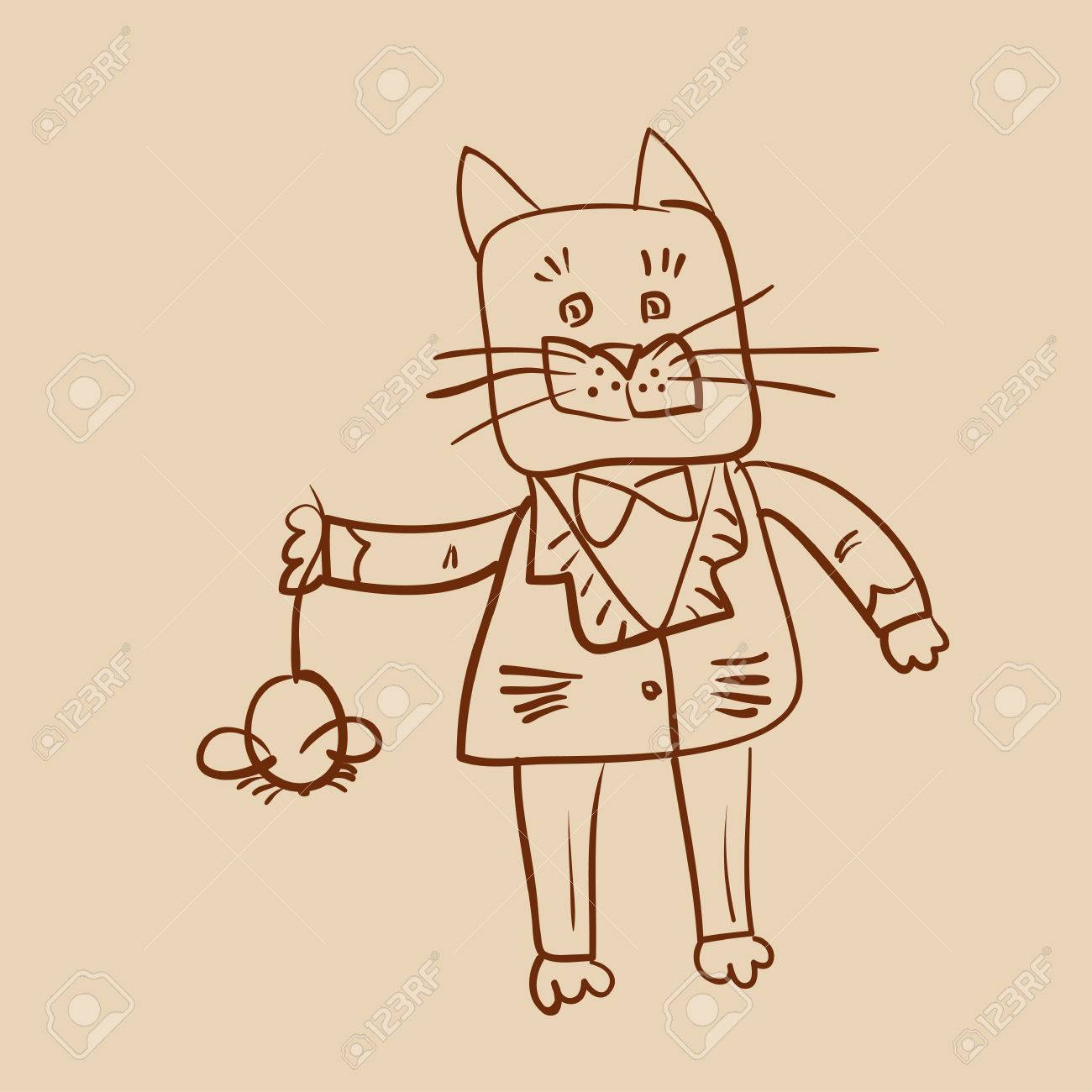 1300x1300 Outline Drawing Of Fat Dressed Cat Who Catch A Mouse Royalty Free