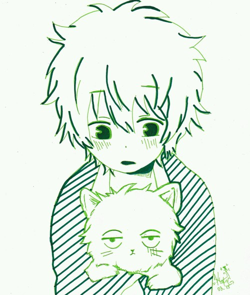 500x590 Boy And Cat Anime Drawing On We Heart It