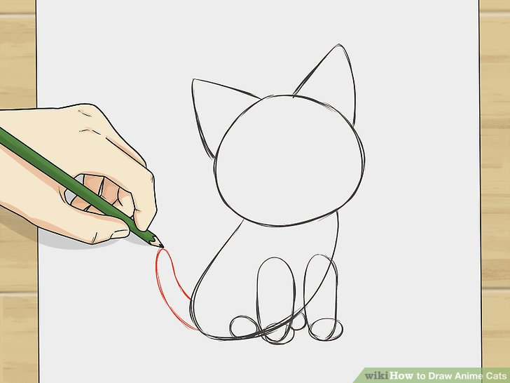 728x546 How To Draw Anime Cats 6 Steps (With Pictures)