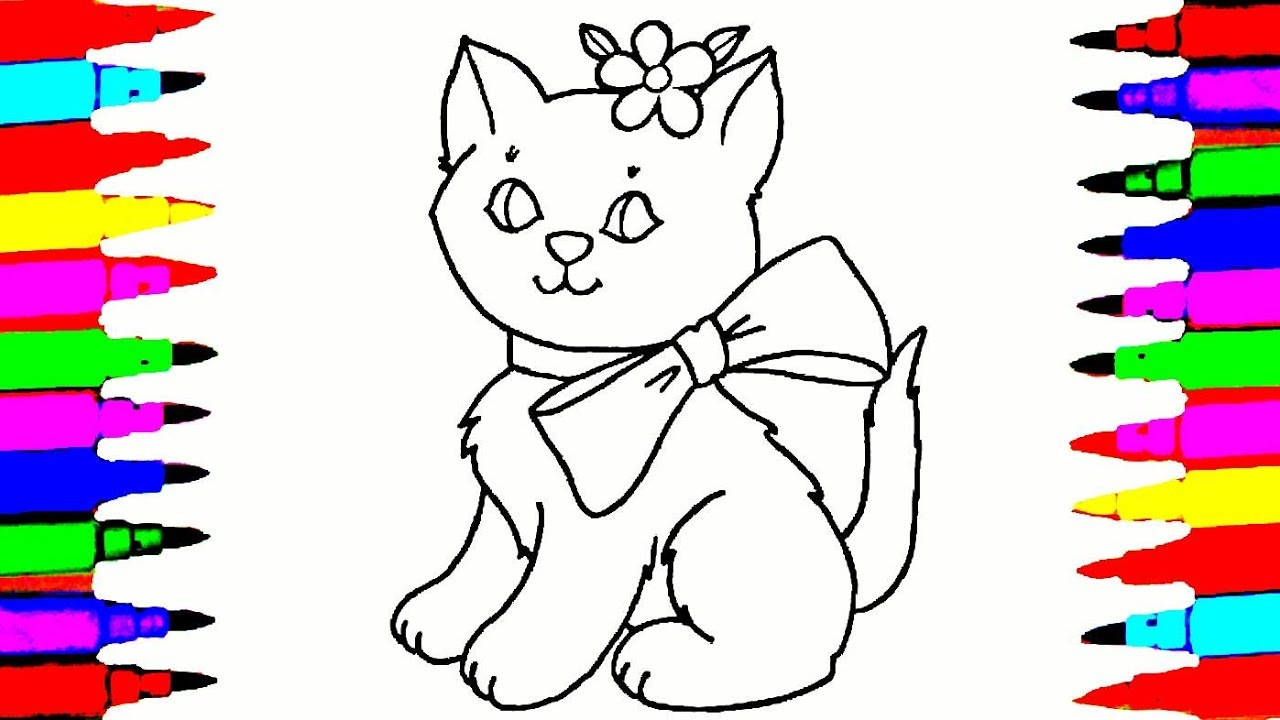 1280x720 Cat Drawing and Coloring Videos For Children l Cute Cat With a Bow
