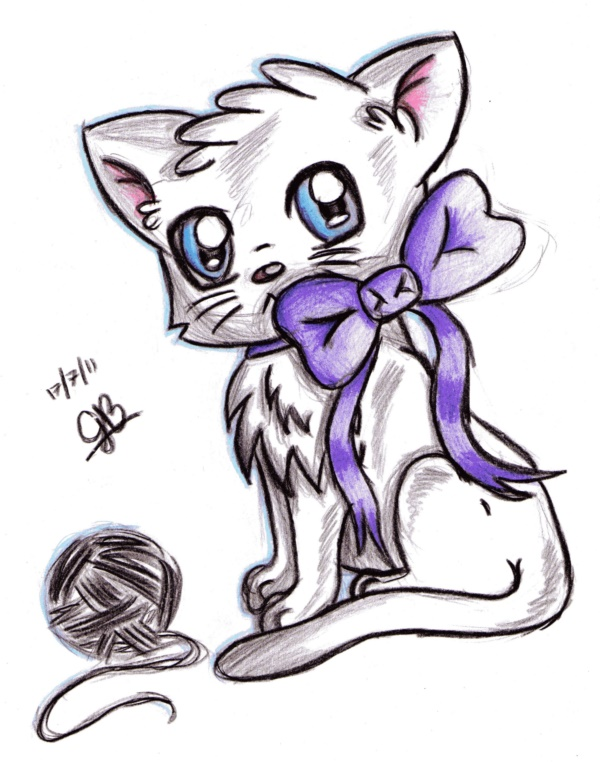 600x762 40 Simple Cat Drawing Examples Anyone Can Try