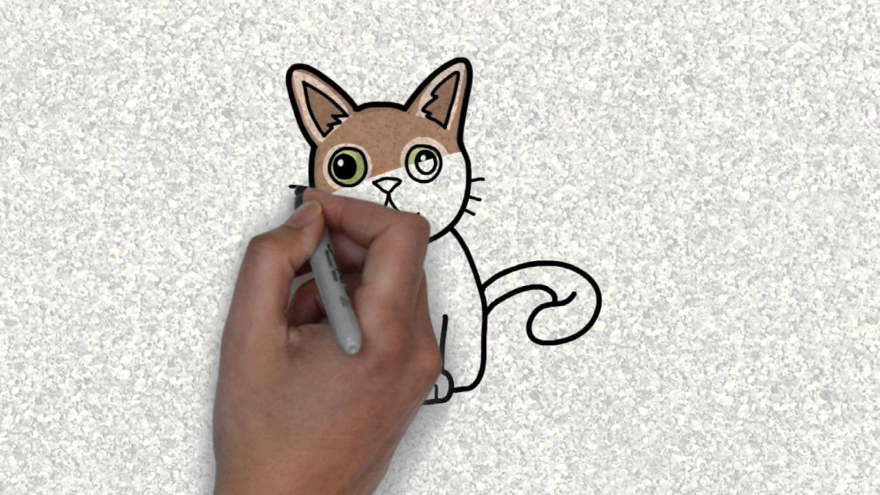 1280x720 How Draw Cute Cat Cat Drawing For Kids Drawing Cat How