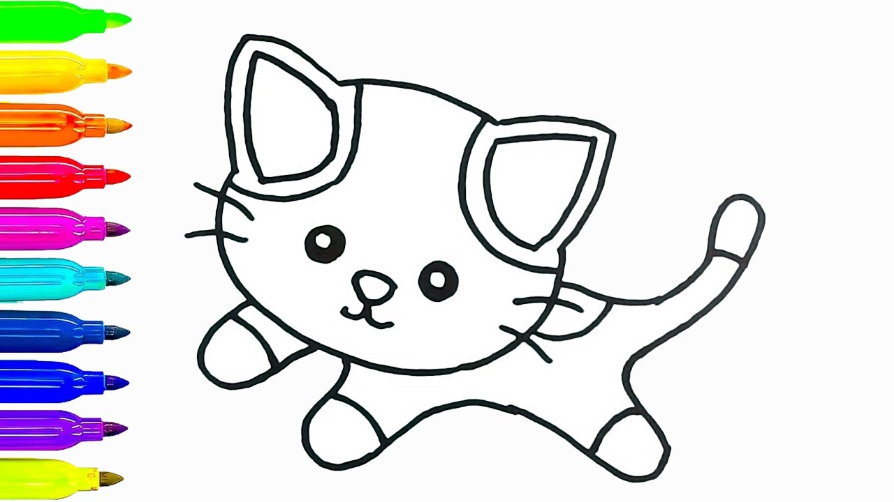 1280x720 Cat Kids Drawing