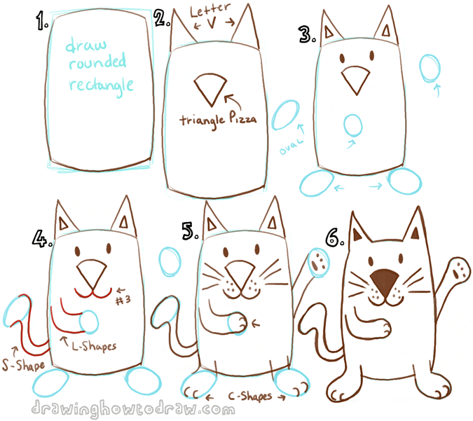 675x601 Draw A Cartoon Cat With A Rectangle Drawing