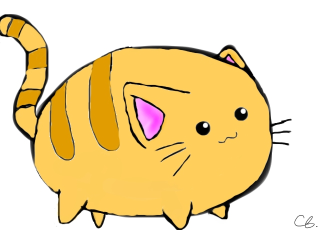 640x460 Fat Cat By Chicgirl678 (Cartoons Drawing)