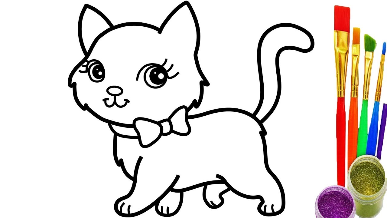 1280x720 How To Draw Cat Coloring Pages Youtube Videos For Kids