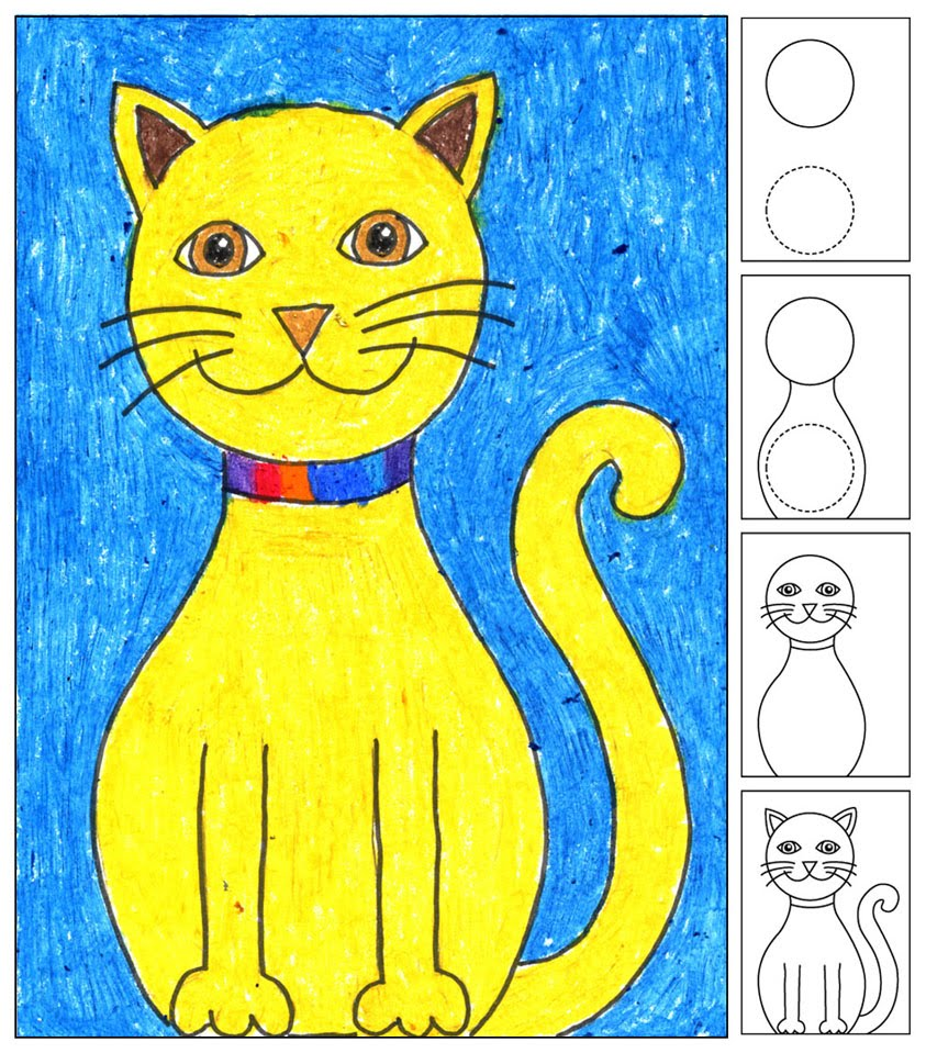 843x959 How To Draw A Cat From The Fabulous Art Projects For Kids. Using