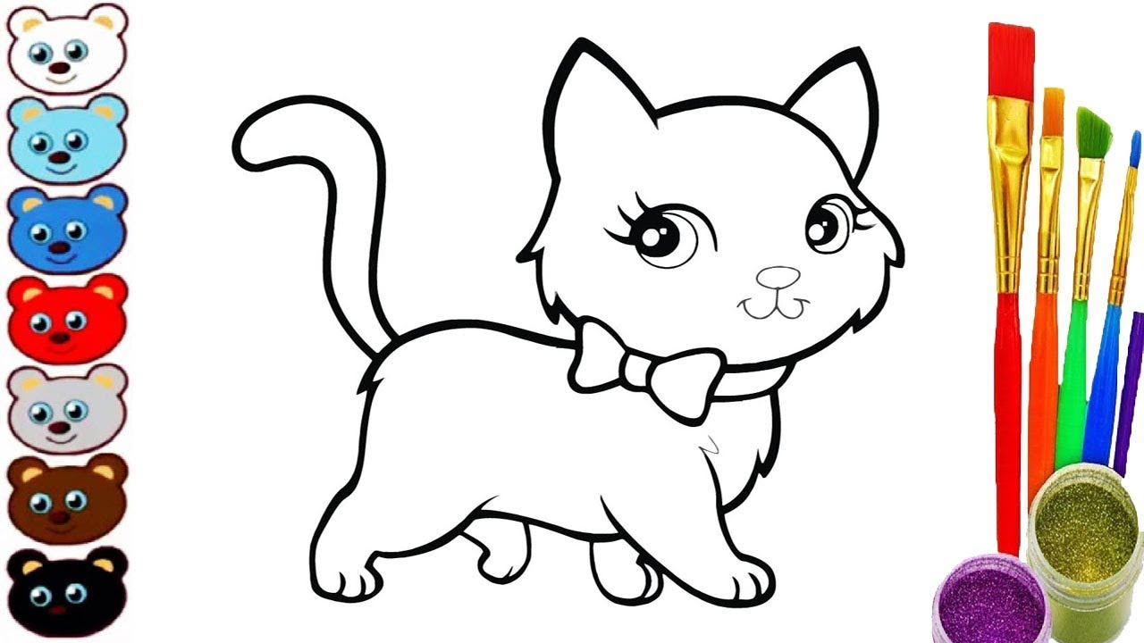 1280x720 How To Draw Cat Coloring Pages Videos For Kids Drawing And