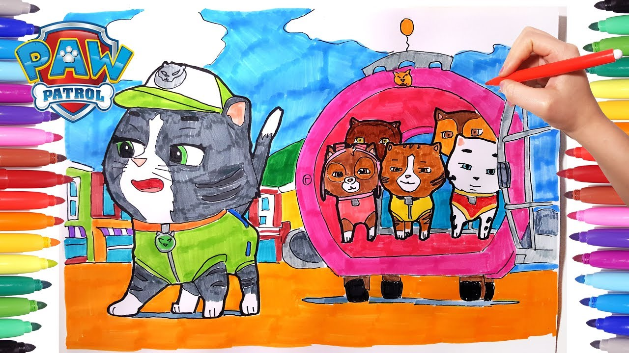 1280x720 PAW PATROL Coloring Pages For Kids Drawing And Paw