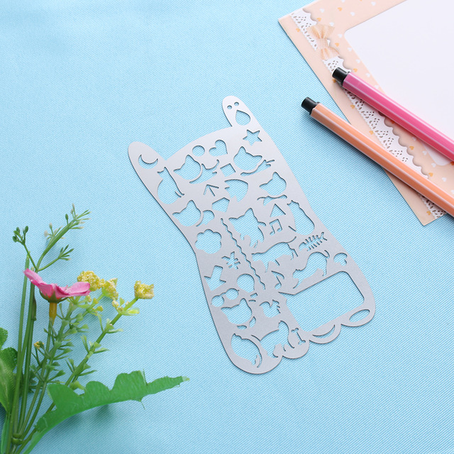 640x640 1pc New Novelty Cat Hollow Out Metal Drawing Template Ruler