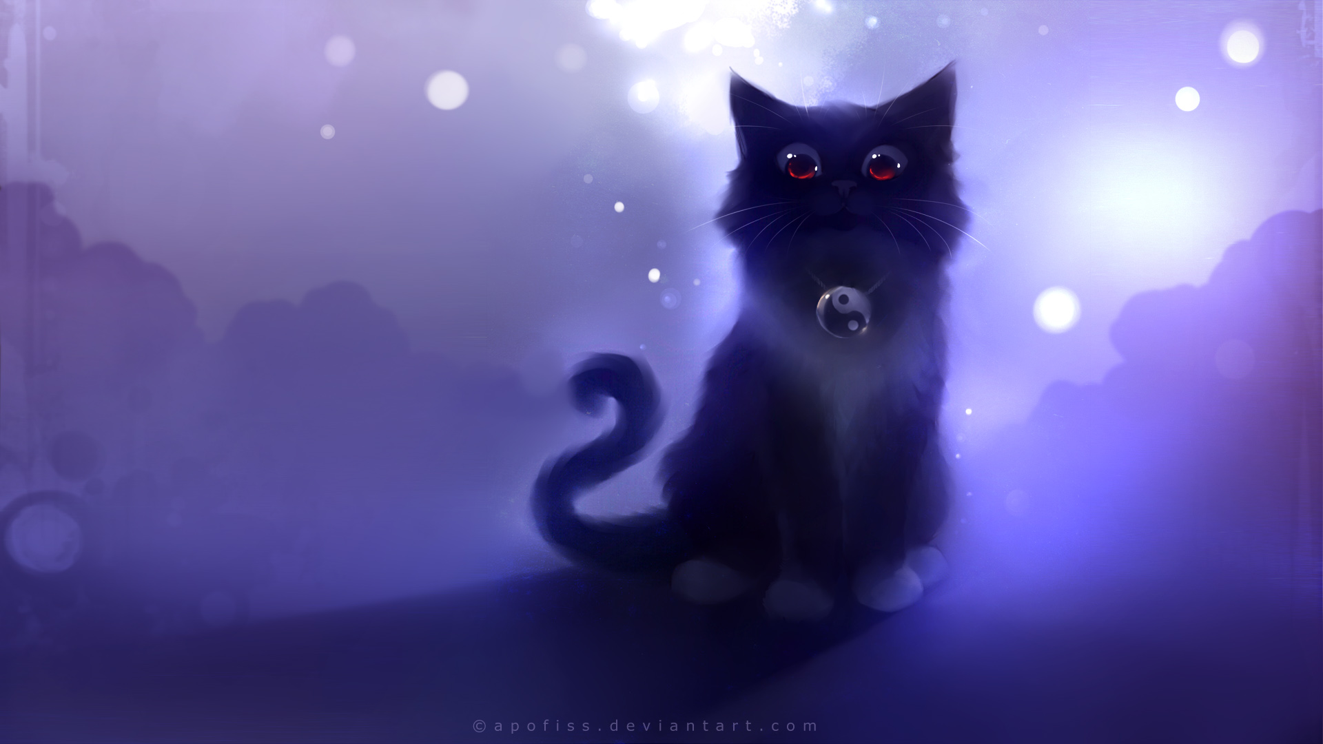 1920x1080 Download Wallpaper 1920x1080 Cat, Black, Drawing, Night, Apofiss
