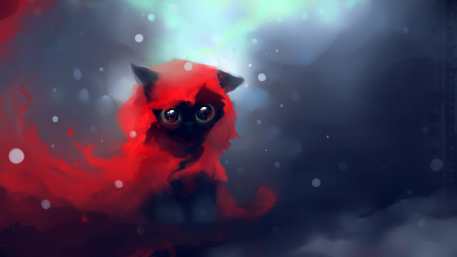 1920x1080 Download Wallpaper Cat Drawing Art Apofiss Full HD