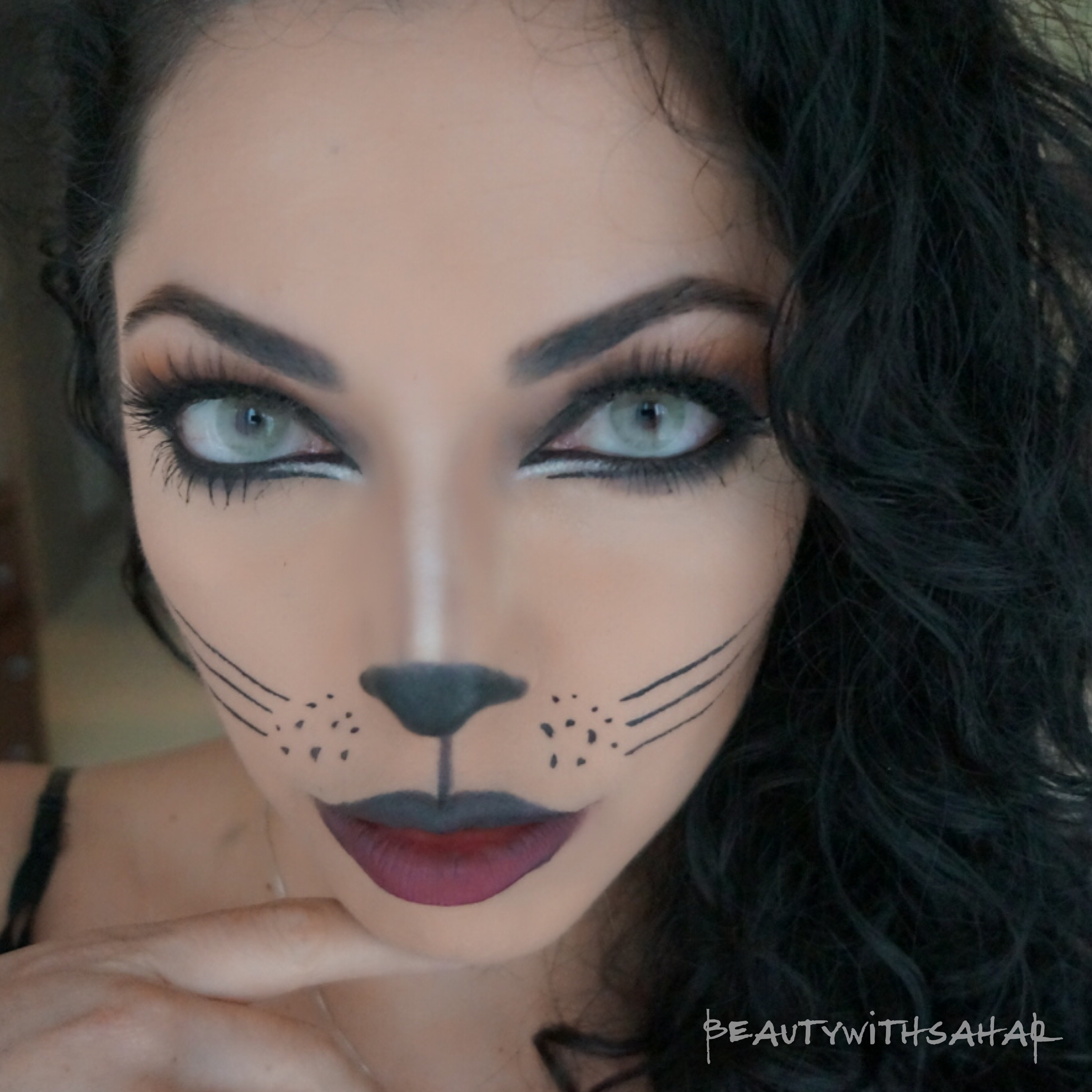 3264x3264 Drawing A Cat Face For Halloween Kitty Cat Halloween Make Up
