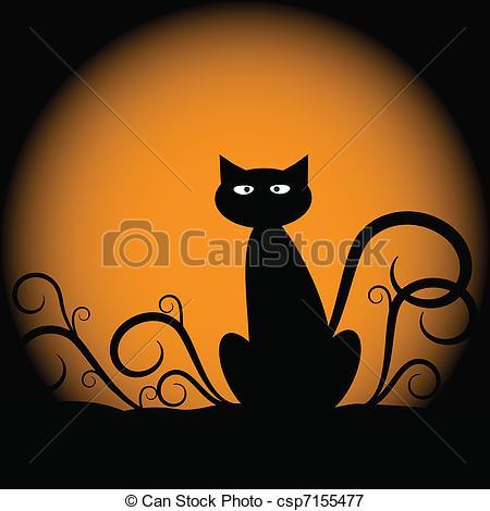 450x470 Halloween Cat. Spooky Halloween Silhouette Of Cat Vectors