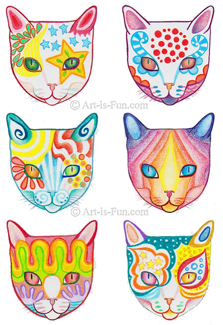 450x655 How To Draw A Cat Learn How To Create A Unique Colorful Cat