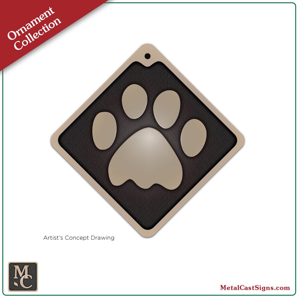 1024x1024 Cat Paw Print Ornament