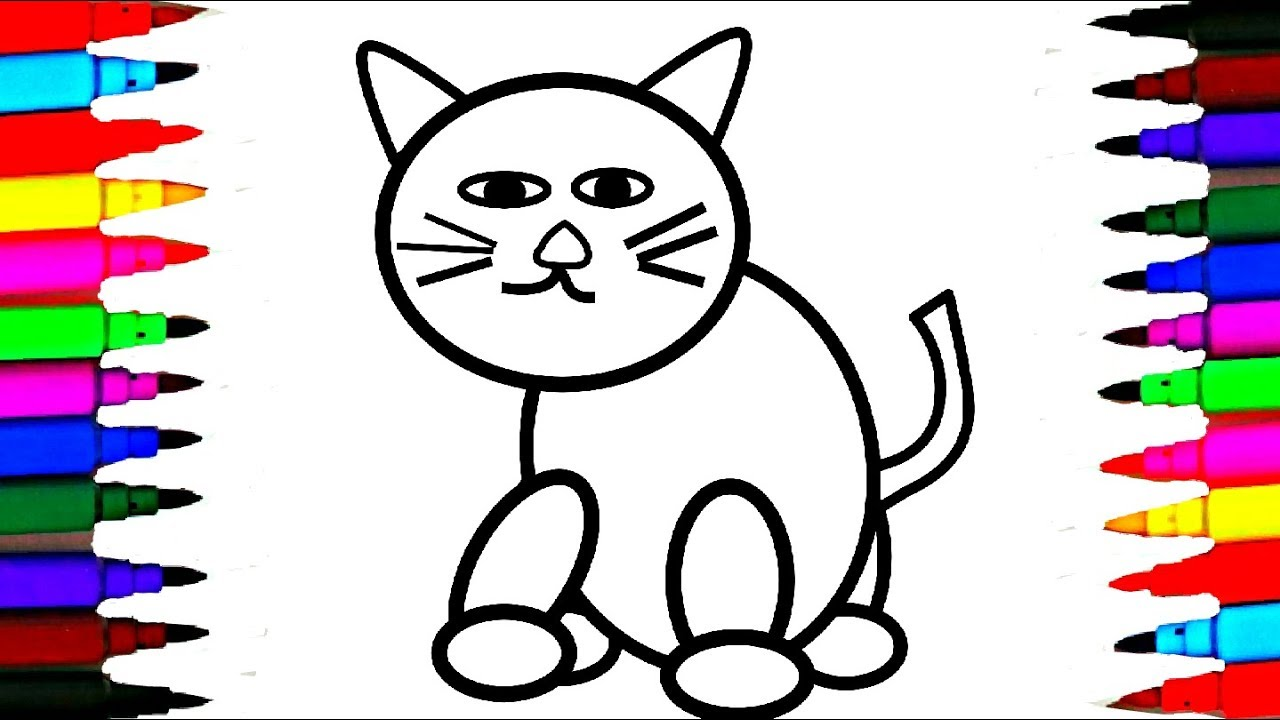 1280x720 How To Draw And Color Cute Kitty Cat L Rainbow Color Cat Drawing